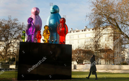 The sculpture 'The Jelly Baby Family' by Italian sculptor Mauro Perucchetti, is seen after it was erected in Marble Arch in London, . The sculpture weighing 3.2 tonnes and over 3 metres tall forms part of Westminster Council's City of Sculpture Festival which will include installations donated by some of the world's leading galleries and artists