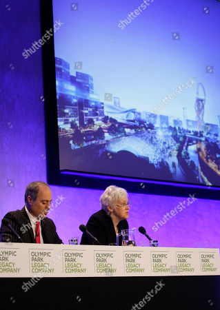 Stock Picture of Baroness Ford, Andrew Altman Chairperson of Olympic Park Legacy Company, Baroness Ford, right, announces West Ham United soccer Club to be the preferred tenant after the 2012 London Olympic Games during a press conference in London as Chief Executive of Olympic Park Legacy Company, Andrew Altman listen on