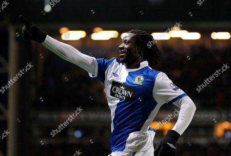 Blackburn's Benjani Mwaruwari celebrates after scoring his second goal against Liverpool during their English Premier League soccer match at Ewood Park Stadium, Blackburn, England, . (AP Photo/Jon Super) NO INTERNET/MOBILE USAGE WITHOUT FOOTBALL ASSOCIATION PREMIER LEAGUE