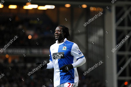 Stock Picture of Blackburn's Benjani Mwaruwari celebrates after scoring his second goal against Liverpool during their English Premier League soccer match at Ewood Park Stadium, Blackburn, England, . (AP Photo/Jon Super) NO INTERNET/MOBILE USAGE WITHOUT FOOTBALL ASSOCIATION PREMIER LEAGUE