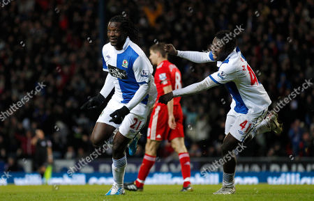 Stock Photo of Blackburn's Benjani Mwaruwari, left, celebrates after scoring his second goal against Liverpool during their English Premier League soccer match at Ewood Park Stadium, Blackburn, England, . (AP Photo/Jon Super) NO INTERNET/MOBILE USAGE WITHOUT FOOTBALL ASSOCIATION PREMIER LEAGUE