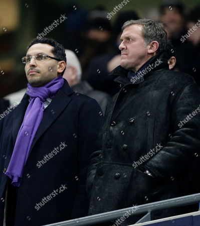 Manchester City's Chief Executive Garry Cook, right, stands alongside Chairman Khaldoon Al Mubarak before the team's English Premier League soccer match against Everton at The City of Manchester Stadium, Manchester, England, . (AP Photo/Jon Super) NO INTERNET/MOBILE USAGE WITHOUT FOOTBALL ASSOCIATION PREMIER LEAGUE