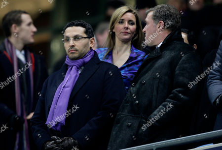 Manchester City's Chairman Khaldoon Al Mubarak, left, stands alongside Chief Executive Garry Cook the team's English Premier League soccer match against Everton at The City of Manchester Stadium, Manchester, England, . (AP Photo/Jon Super) NO INTERNET/MOBILE USAGE WITHOUT FOOTBALL ASSOCIATION PREMIER LEAGUE