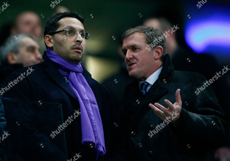 Garry Cook, Khaldoon Al Mubarak Manchester City chairman Khaldoon Al Mubarak, left, talks with Chief Executive Garry Cook before their English Premier League soccer match against Everton at City of Manchester Stadium, Manchester, England, . (AP Photo/Tim Hales) NO INTERNET/MOBILE USAGE WITHOUT FOOTBALL ASSOCIATION PREMIER LEAGUE (FAPL) LICENCE. CALL +44