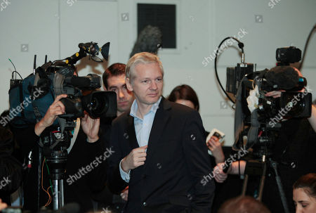Julian Assange WikiLeaks founder Julian Assange arrives for a news conference with former Swiss banker Rudolf Elmer, not seen, at the Frontline Club in London, . Rudolf Elmer blew the whistle on the conduct of Julius Baer Bank in the Cayman Islands for which he is set to stand trial in Zurich, Switzerland, on Jan. 19 for breaching Swiss bank secrecy laws. Elmer claims he has evidence of alleged abuses in the world of offshore financial centres and passed the said documents and information to Assange