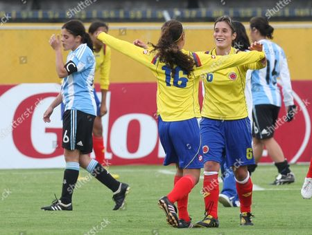 Gissela Arrieta, Daniela Montoya Colombia's Gissela Arrieta, center, and Daniela Montoya celebrate their 1-0 victory over Argentina at a Women's South American Championship soccer match in Quito, Ecuador, . Colombia qualified for the 2011 Women's World Cup in Germany