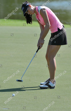 Maria Verchenova from Russia putts during the first day of the Dubai Ladies Golf Tournament, in Dubai on