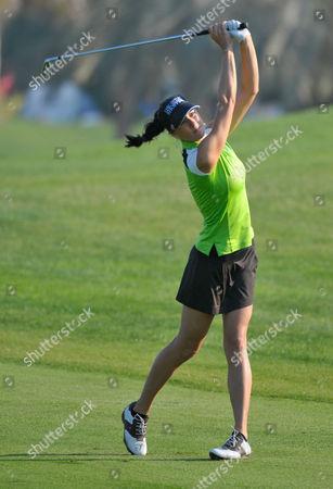 Maria Verchenova Russia's Maria Verchenova plays a shot on the 14th fairway during the second round of the Dubai Ladies Masters golf tournament at the Emirates Golf Club, Dubai, on