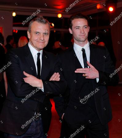 Jean-Charles de Castelbajac, Louis-Marie de Castelbajac French designer Jean-Charles de Castelbajac, left, with his son Louis-Marie de Castelbajac, right, arrive at a fashion gala in Paris