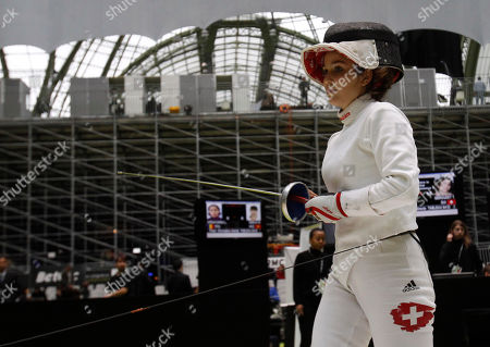 Stock Photo of Tiffany Geroudet Swizerland's Tiffany Geroudet reacts as she plays Canada's Joanna Guy in the women's epee single's category group of 64 during the fencing World Championships in Paris