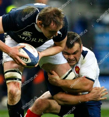 Alastair Kellock, Nicolas Mas Scotland's Alastair Kellock, left, is tackled by France's Nicolas Mas during their Six Nations rugby union international match at the Stade de France stadium, in Saint Denis, outside Paris, Saturday, Feb. 5, 2011