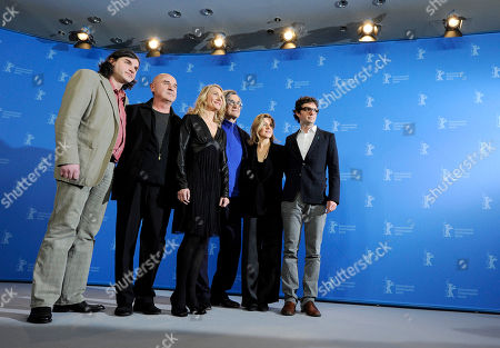 Stock Photo of Robert Sturm, Peter Pabst, Julie Shanahan, Wim Wenders, Barbara Kaufmann, Gian-Piero Ringel Art directors Robert Sturm and Peter Pabst, dancer Julie Shanahan, director Wim Wenders, dancer Barbara Kaufmann and producer Gian-Piero Ringel, from left, pose during a photo-call about the 3D dancing movie Pina during the International Film Festival Berlinale in Berlin on