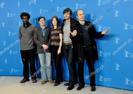 Jean-Christophe Folly, Pierre Bokma, Jenny Schily, Ulrich Koehler, Hippolyte Girardot Actors Jean-Christophe Folly, Pierre Bokma, Jenny Schily, director Ulrich Koehler and actor Hippolyte Girardot, from left, pose at a photo-call about the movie Sleeping Sickness during the International Film Festival Berlinale in Berlin on