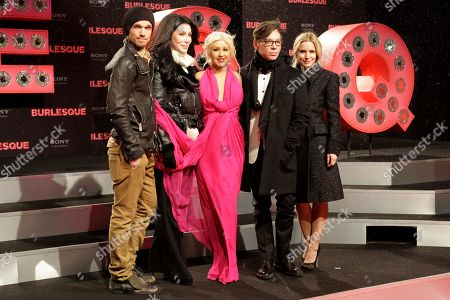 "Cher, Kristen Bell, Steven Antin, Christina Aguilera, Cam Gigandet US actors Cam Gigandet, Cher, Christina Aguilera, director Steven Antin and actress Kristen Bell arrive for the premier of the movie ""Burlesque"" in Berlin, Germany"