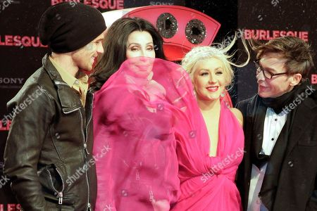 "Stock Picture of Cher, Kristen Bell, Steven Antin, Christina Aguilera, Cam Gigandet US actors Cam Gigandet, Cher, Christina Aguilera and director Steven Antin, from left, arrive for the premier of the movie ""Burlesque"" in Berlin, Germany"