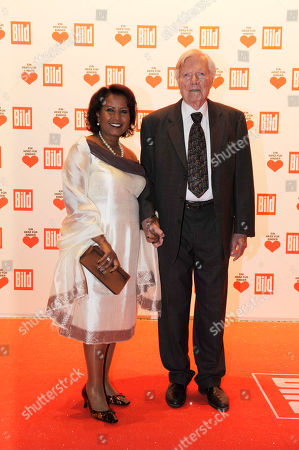 "Karlheinz Boehm, Almaz Boehm Austrian actor Karlheinz Boehm, right, and his wife Almaz are seen on the red carpet prior to the German charity event ""Ein Herz fuer Kinder ""( A heart for children) in Berlin on"