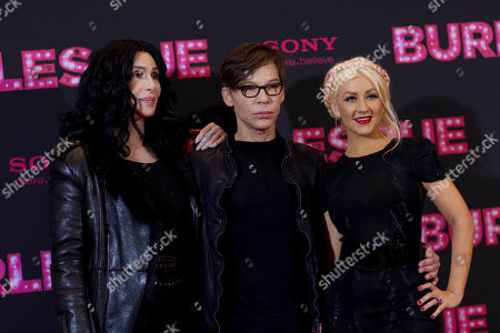 "Cher, Steven Antin, Christina Aguilera US singer and actresses Cher, left, and Christina Aguilera, right, pose with director Steven Antin, during a photo call for the movie ""Burlesque"" in Berlin, Germany"