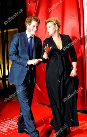 """Stock Photo of Prince Harry Britain's Prince Harry is accompanied by Marion Horn, right, chief editor of Bild newspaper, as he arrives for the German charity event """"Ein Herz fuer Kinder"""" ( A heart for children) in Berlin . The Prince receives a Golden Heart award in recognition of his humanitarian work. The German charity organisation Ein Herz fuer Kinder is Germany's biggest television fundraising gala"""