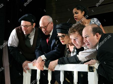 'Rhinocerous' - Lloyd Hutchinson (Botard), Graham Turner (Monsieur Papillion), Benedict Cumberbatch (Berenger), Zawe Ashton (Daisy) and Paul Chahidi (Dudard)