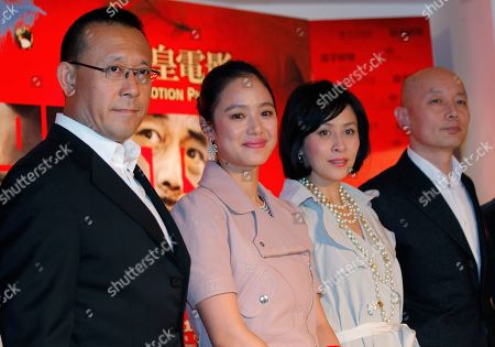 """Jiang Wen, Zhou Yun, Carina Lau, Ge You From left, Chinese actor-turned-director Jiang Wen, Chinese actress Zhou Yun, Hong Kong actress Carina Lau and Chinese actor Ge You pose together during the premiere of their latest movie """"Let the Bullets Fly"""" in Hong Kong"""