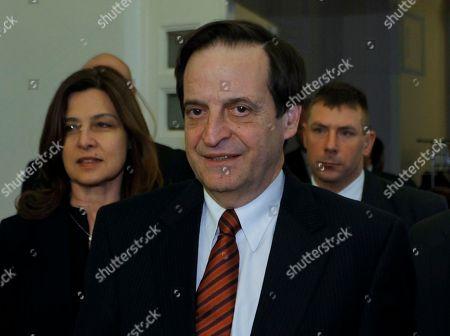 Dan Meridor Israeli Deputy Prime Minister Dan Meridor, center, arrives for his meeting with Hungarian Foreign Minister Janos Martonyi, not seen, in Budapest, Hungary