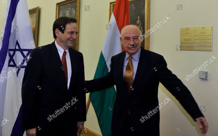 Janos Martonyi, Dan Meridor Hungarian Foreign Minister Janos Martonyi, right, welcomes Israeli Deputy Prime Minister Dan Meridor, left, before their meeting in the building of the Hungarian Foreign Ministry in Budapest, Hungary
