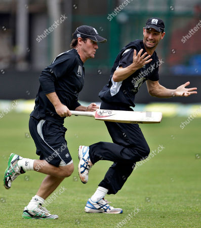 Jamie How, Andy McKay New Zealand's Jamie How, left, and Andy Mckay attend a training session ahead of their fourth one day international cricket match against India, in Bangalore, India, . India leads the series 3-0