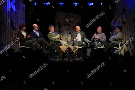 From left, Martin Lousteau from Argintina, novelist John Lancaster, Fintan O'Toole political commentator, Fred MacAulay, Peter Schiff American economist and author, and at right Ha-Joon Chang, specialist in development economics take to stage as part of the Kilkenomics Festival, the comedy economics festival in Kilkenny, Ireland, . Times have gotten so terrifying in debt-crippled Ireland, that some economists think hysterical laughter might be part of the solution, so some thousands of people have journeyed to Ireland's renowned capital of comedy in Kilkenny, for the nation's first-ever economics festival, entitled Kilkenomics Festival, a uniquely Irish blend of economic tragedy spiced-up with elements of farce