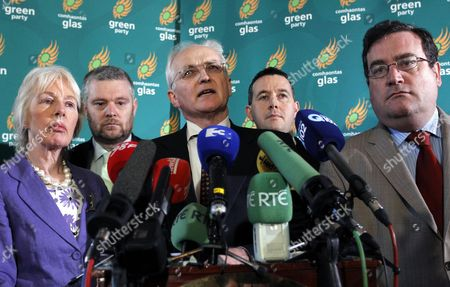 John Gormley Green Party leader John Gormley, centre, accompanied by part members speaks to the media, after his party announced its withdrawal from Ireland's coalition government in Dublin, Ireland, Sunday Jan, 23,2011. The party's withdrawal from the Irish government, raises pressure for Prime Minister Brian Cowen to resign from office and for Ireland to hold a national election sooner than March 11 as planned