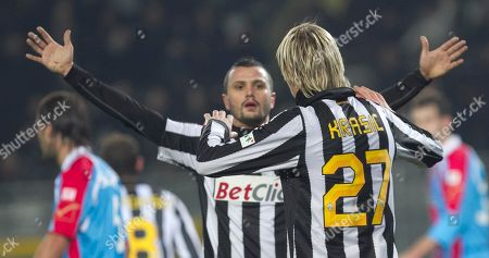 Milos Krasic, Simone Pepe Juventus' Milos Krasic, of Serbia, right, is cheered by teammate Simone Pepe after scoring during the Italian Cup soccer match between Juventus and Catania in Turin, Italy