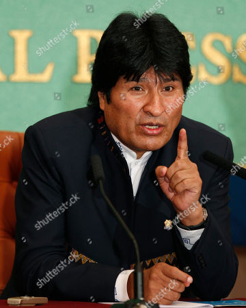 Juan Evo Morales Ayma Bolivian President Evo Morales speaks during a press conference at the Japan National Press Club in Tokyo