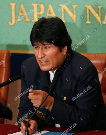 Stock Image of Juan Evo Morales Ayma Bolivian President Evo Morales speaks during a press conference at the Japan National Press Club in Tokyo