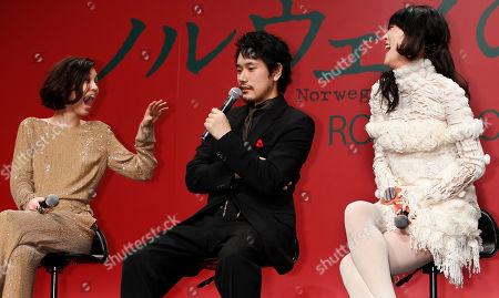"Kenichi Matsuyama, Kiko Mizuhara, Rinko Kikuchi Actor Kenichi Matsuyama, center, speaks with actresses Kiko Mizuhara and Rinko Kikuchi during a press conference to promote thier movie ""Norwegian Wood"" in Tokyo"