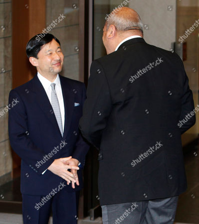 Stock Picture of George Tupou V, Naruhito Tonga's King George Tupou V, right, is welcomed by Japanese Crown Prince Naruhito at Togu Palace, Naruhito's residence, prior to their meeting in Tokyo