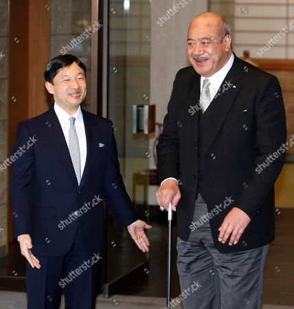 Stock Image of George Tupou V, Naruhito Tonga's King George Tupou V, right, is welcomed by Japanese Crown Prince Naruhito at Togu Palace, Naruhito's residence, prior to their meeting in Tokyo