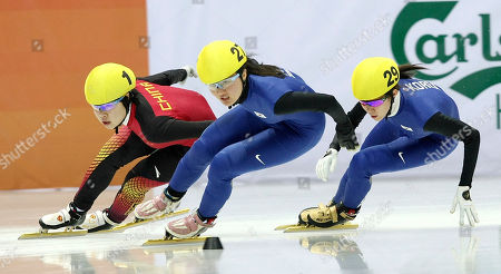 Zhou Yang, Park Seung-Hi, Cho Ha-Ri China's Zhou Yang, left, South Korea's Park Seung-Hi, center, and Cho Ha-Ri compete during the women's 1500 meters final at the 7th Asian Winter Games Short Track speed skating competition in Astana, Kazakhstan