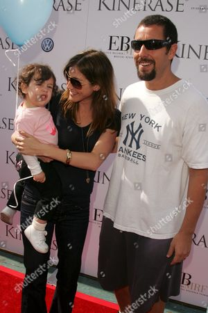 Stock Photo of Adam Sandler with wife Jackie Titone and daughter