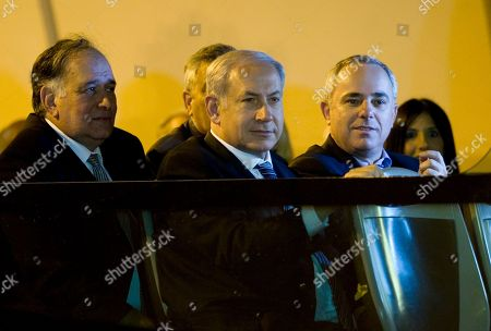 Stock Photo of Benjamin Netanyahu, Yona Yahav, Yuval Steinitz Haifa Mayor Yona Yahav, left, Israel's Prime Minister Benjamin Netanyahu, center, and Finance Minister Yuval Steinitz take part in the inauguration ceremony of the Carmel Tunnels, a traffic system consisting of roads, bridges and tunnels, in Haifa, northern Israel