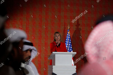 "Hillary Rodham Clinton U.S. Secretary of State Hillary Rodham Clinton, center, gestures as she talks during a press conference with Qatar's Prime Minister Sheikh Hamad bin Jassim bin Jaber bin Muhammad Al Thani not pictured, in Doha, Qatar, . Lebanon's year-old unity government collapsed Wednesday after Hezbollah ministers and their allies resigned over tensions stemming from a U.N.-backed tribunal investigating the 2005 assassination of former Prime Minister Rafik Hariri. Clinton said the Obama administration was ""consulting closely with concerned parties and nations as to the best way forward to preserve the sovereignty, stability and independence of Lebanon and the needs of the Lebanese people"