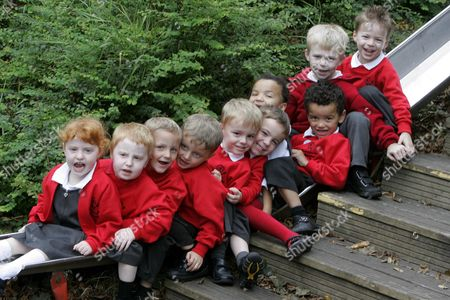 """Pictured L-R are twins Chloe and Matthew Pryke, Lewis and Owen Kilby, Jacob and Joshua  Longhurst, Starla and Tyler Banks, Max and Harry Parker. Teachers are seeing double at a primary school where no less than 5 sets of twins have joined the reception class. The twins are all in their first week at Ramsey Spinning Infant School, near Huntingdon, Cambridgeshire, and will count for almost one in seven pupils in their year. Patsy Barrett, acting headteacher, said: """"It's fantastic we've got them and it's going to be interesting watching them develop."""""""