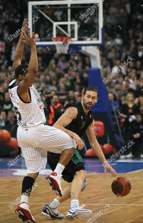 Stock Picture of Marko Jaric, Curtis Jerrells Marko Jaric of Montepaschi Siena, right, challenges for the ball with Curtis Jerrells of Partizan Belgrade, during their Euroleague Top 16 basketball match, in Belgrade, Serbia