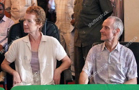 British couple Paul and Rachel Chandler who were released by the Somali pirates speak during a press conference at the presidential palace in Mogadishu Somalia Sunday Nov.14 2010