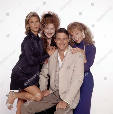 Stephen Billington with L-R. Rhona Mitra,Kim Criswell and Gilly Coman in 'The Man Who Made Husbands Jealous' - 1997