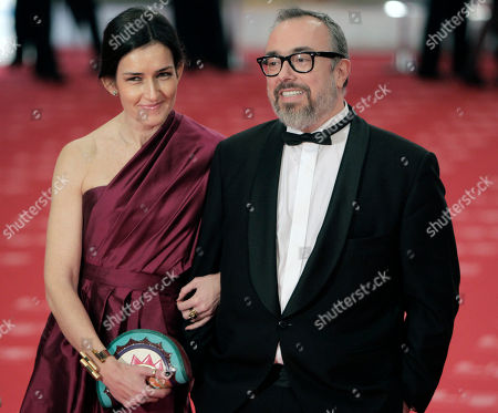 Stock Image of Alex de la Iglesia, Angeles Gonzales Sinde Spanish Culture Minister Angeles Gonzalez Sinde, left, and Spanish Director Alex de la Iglesia, right, pose on arrival at the annual Goya film awards in Madrid