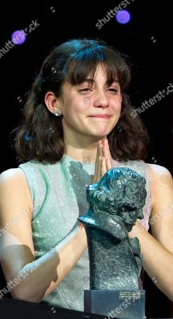 Marina Comas Marina Comas reacts after winning a Goya for best new actress for Pan negro during the annual Goya film awards in Madrid . AP Photo/Paul White