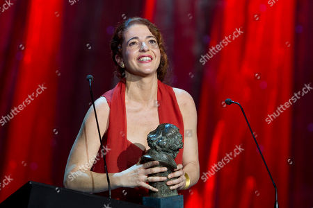 Stock Picture of Nora Novas Nora Novas reacts after winning best actress award for Pan negro during the annual Goya film awards in Madrid in the early hours of . AP Photo/Paul White