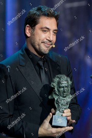 Javier Bardem Actor Javier Bardem waits to present a Goya to producer Isona Passola for best film award for Pan Negro during the annual Goya film awards in Madrid in the early hours of . AP Photo/Paul White