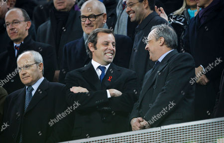 From left, Catalonia's President Jose Montilla, Barcelona president Sandro Rosell and Real Madrid president Florentino Perez talk before the start of the La Liga soccer match between Barcelona and Real Madrid at Camp Nou stadium in Barcelona