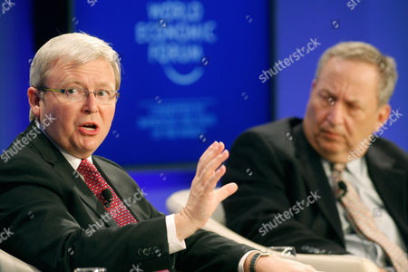 Lawrence Summers, Kevin Rudd Austrialian Foreign Minister Kevin Rudd, left, and Harvard University Professor Lawrence Summers attend a session at the World Economic Forum in Davos, Switzerland on . More than two dozen senior officials from key economies will try Saturday to agree on whether to send a political signal that a new global trade deal can, at last, be completed this year as the World Economic Forum gradually comes to a close