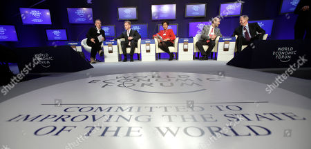 Indra Nooyi, Thomas Friedman, Jim Albaugh, Igor Shuvalov, Patrick Kron From left, Moderator Thomas Friedman, Russia's First Deputy Prime Minister Igor Shuvalov, CEO PepsiCo, USA, Indra Nooyi, CEO, Alstom, France, Patrick Kron and CEO, Boeing Commercial Aircraft, USA, Jim Albaugh are seen during a session at the World Economic Forum in Davos, Switzerland on . Focus shifts on Thursday to the future of the euro and the issue of climate change